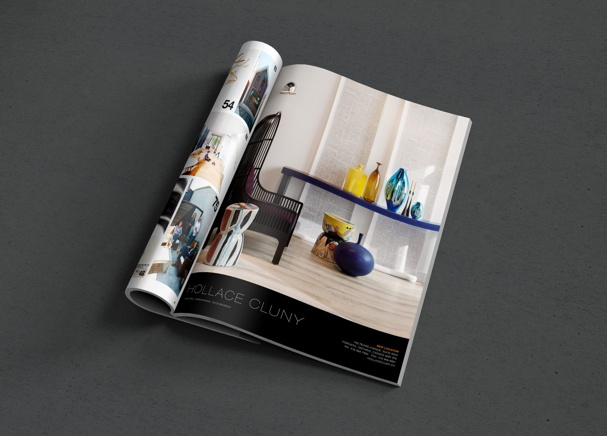 Hollace Cluny ad in DesignLines Magazine