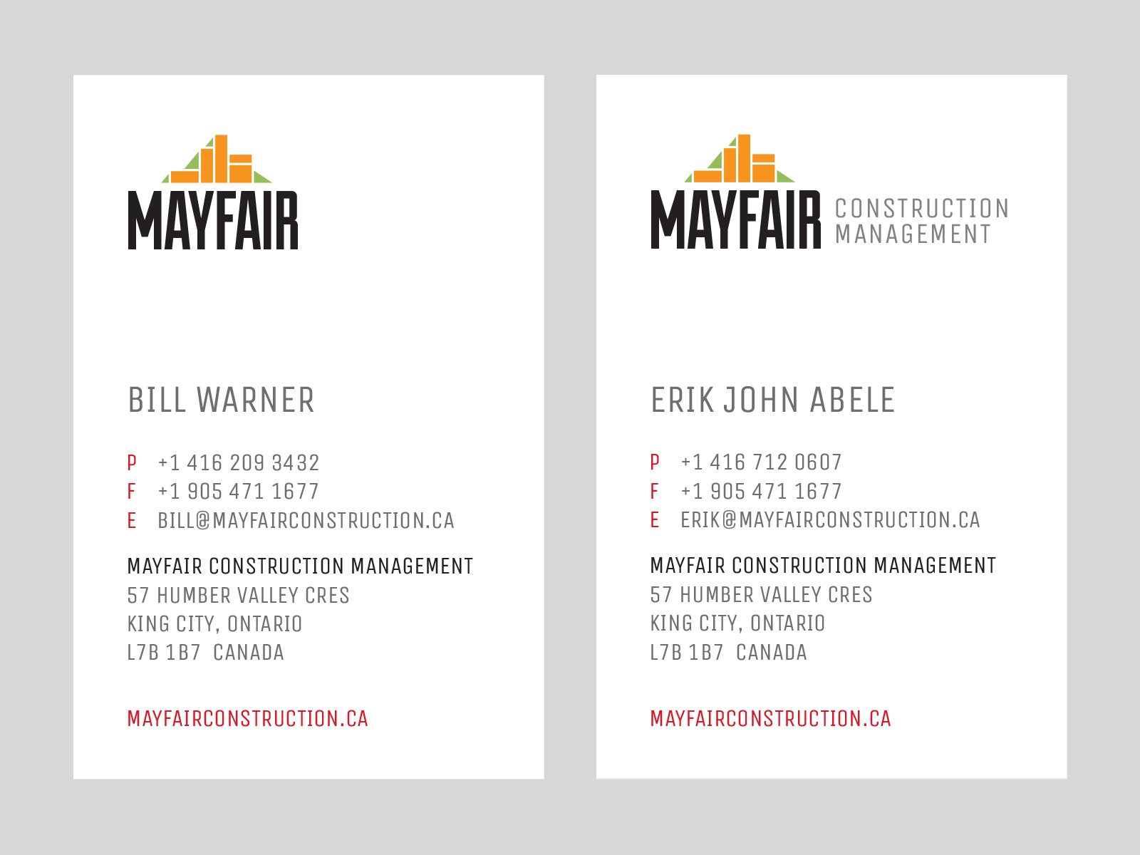 Business cards for Mayfair Construction Management