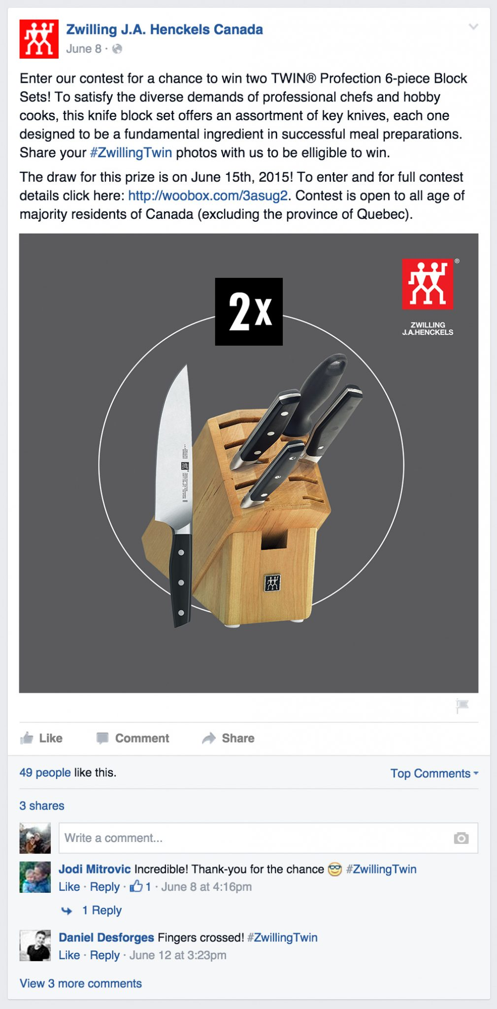 Zwilling Anniversary Twin Contest
